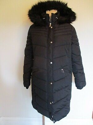George Maternity Long Black Quilted Coat Mac Jacket Size 14