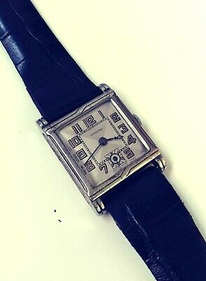 Antique Unicorn By Rolex Art Deco Blue Jewels Movement Swiss Watch From 1930