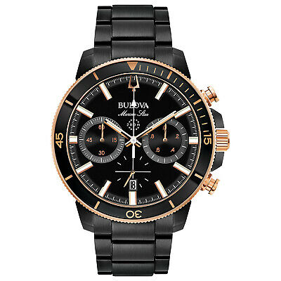 Bulova Marine Star Men's 98B302 Chronograph Rotating Bezel Black Band 45mm Watch