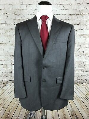 Burberry London Two Button Sport Coat Suit Jacket Size 42L Charcoal Gray Wool