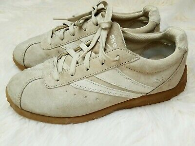 Skechers retro ladies taupe beige suede leather 70s style lace up trainers 5 5.5