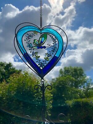 Blue Heart Wimdchime With Butterfly - Dimensions H77cm X W16cm X D6cm