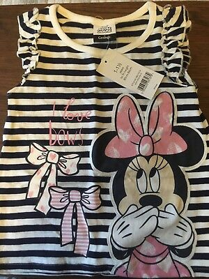 BNWT Girls Minnie Mouse navy/white striped sleeveless frilly top 12-18 months
