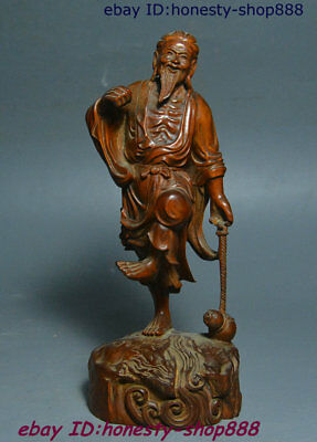 """7"""" Old China Natural Boxwood Wood Hand-Carved Old Gentleman Geezer Gourd Statue"""