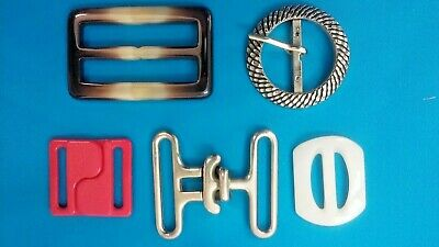 Vintage Lot of 5 Women's Belt Buckles White Red Silver Brown Plastic & Metal