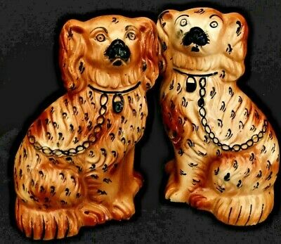 Matched Antique Pair of Highly Decorated Apricot Staffordshire Spaniels, c1890's