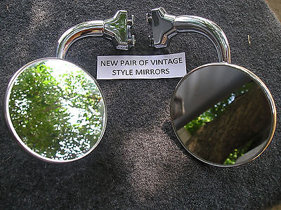 New Pair 4 Inch Round Vintage Style Glass Peep Side View Mirrors !