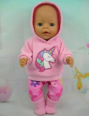 "Dolls clothes for 17"" Baby Born doll~UNICORN PINK HOODIE/FLORAL LEGGINGS/BOOTS"