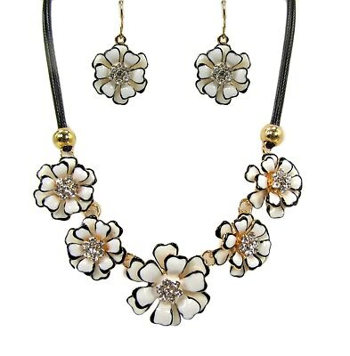 Black and White Enamel and Crystal Fashion Flower Necklace and Earring Set NEW!!