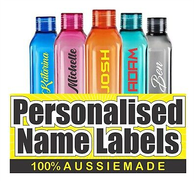2x Personalised NAME LABELS Water Bottle Sticker, Lunchbox, School,Laptop