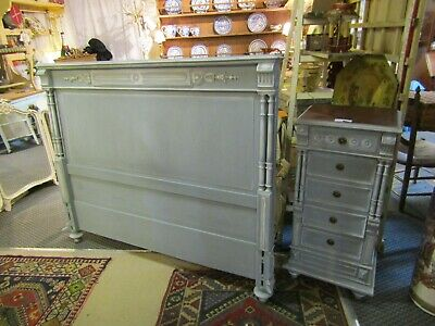 Beautifully Painted Double Size Headboard Bed & Bedside Chest Of Draws Cabinet