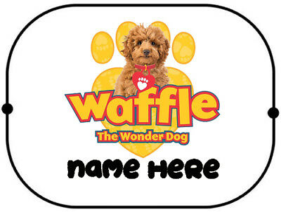 X2 Waffle the wonder dog personalised car sun / sunshine shade  doggy sunshade