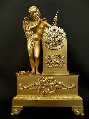 Antique Gilt Bronze figural mantel Clock with winged Angel ca 1830