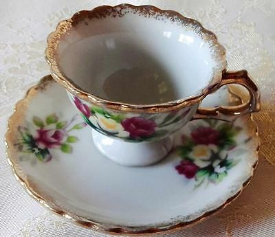 Vintage Miniature Porcelain Cup & Saucer for display or dolls house, Rose Design