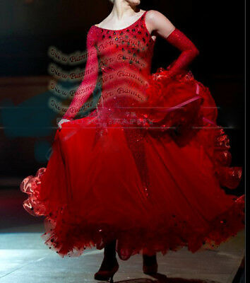 B7851 Feather Standard Smooth competition dance dress gown Custom Made Red