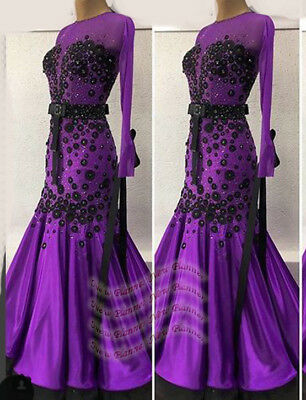 B7748 women Ballroom standard swing Waltz Tango Rhythm UK 12 Dance Dress purple