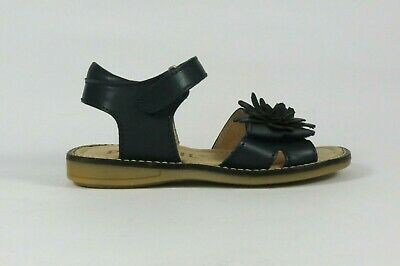 Petasil Lara navy leather girl's sandal with flower on adjustable toe strap