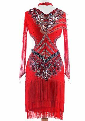 L1907 beading Custom made Ballroom Rumba Latin/Rhythm Samba Dress red