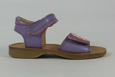 Petasil Jools lilac leather girl's sandal adjustable toe strap with flower