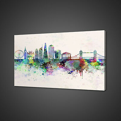 Watercolour Style Collection Of Cities Canvas Picture Print Wall Art Home Decor