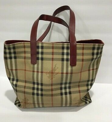 734456726c Authentic Burberry Nova Check PVC Canvas Leather Haymarket Tote Bag Well  Worn