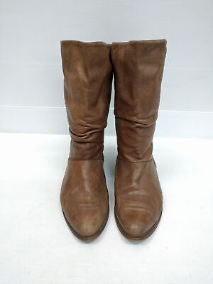 Size 40 Vintage Ladies 80s Brown Slouch Flat made in ITALY soft leather boots