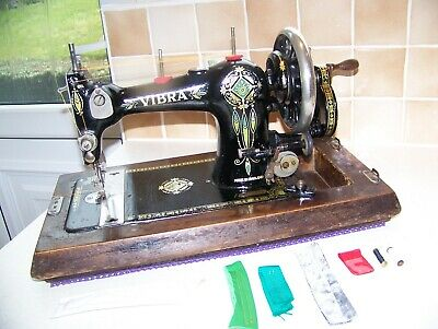RARE CIRCA 1920's JONES VIBRA VS  HEAVY DUTY HAND SEWING MACHINE,CASE/KEY,