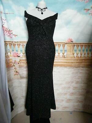 e59a7d6f NEW Quiz Dress/Ballgown Size 16/18 Bardot Black/Silver Stretch Evening Maxi
