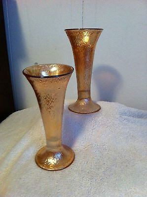 Vintage Carnival Glass Flower Vases  ~  (pair)