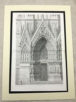 1857 Antique Engraving French Architectural Print Reims Cathedral France LARGE