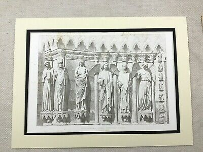 1857 Antique French Print Reims Cathedral France Angels Statue Carvings