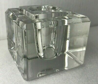 Antique Large Heavy Cut Crystal Glass Inkwell