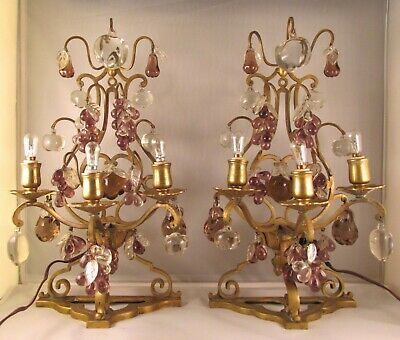 Antique Pair of Brass Candelabra Lamps Crystal Prism Fruit Grapes Apples Pears!