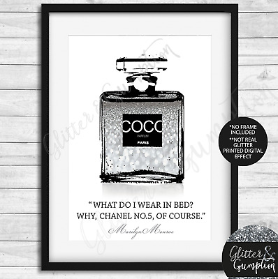 Fashion Faux Glitter Iconic Perfume Bottle marilyn monroe quote beauty room art