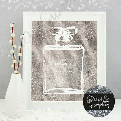 Fashion Iconic Perfume Bottle Silver Faux Glitter Art Beauty Room Art Print