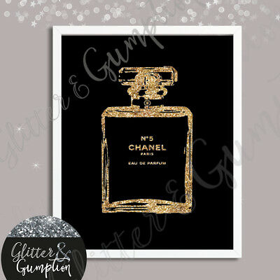 Abstract Fashion Art Faux Gold Glitter Iconic Perfume Bottle beauty room art
