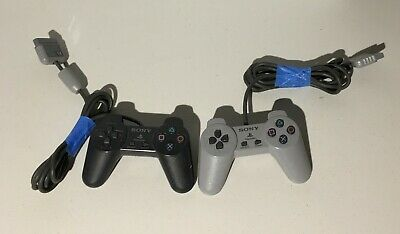 lot of 2 Official OEM Sony Playstation 1 Controller  Black & Gray SCPH-1080