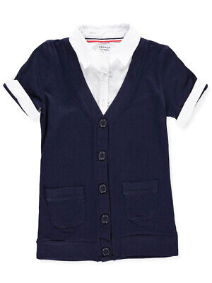 French Toast Big Girls' S/S Blouse/Cardigan Combo Top (Sizes 7 - 16)