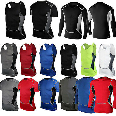 Mens Compression Under Skin Base Layer Tight Tops Sports T-Shirts Athletic Vest