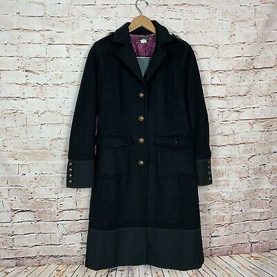 adc7ca1a8e J Crew Women's Black Wool Trench Coat Full Length Body Military 78451 Size 8