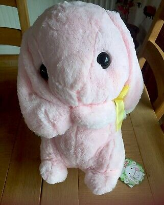 Official AMUSE Pote USA Loppy Bunny Sanrio Kawaii Japan Plushie Pink Rabbit Toy