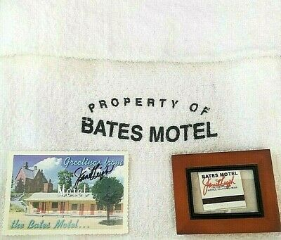 """Alfred Hitchcock """"Psycho"""" Bates Motel Bath Towel Signed Post Card and Matchbook"""