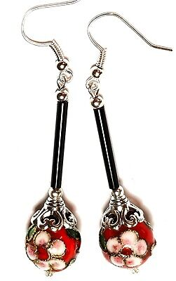 Very Long Red Chinese Cloisonne Bead Earrings Antique Vintage Style Pierced