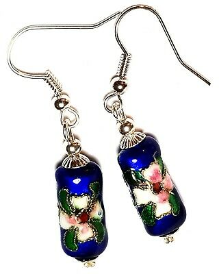 Short Blue Chinese Cloisonne Bead Earrings Antique Vintage Style Pierced