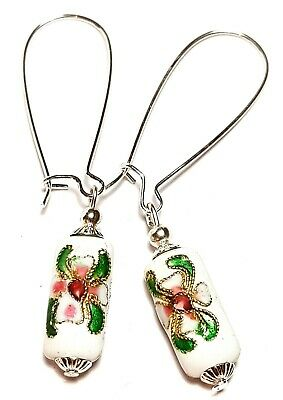 Long White Chinese Cloisonne Bead Earrings Antique Vintage Style Pierced
