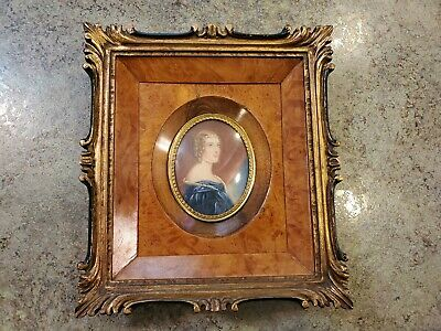 Antique Hand Painted Victorian Portrait Painting Young Lady Signed Virginia