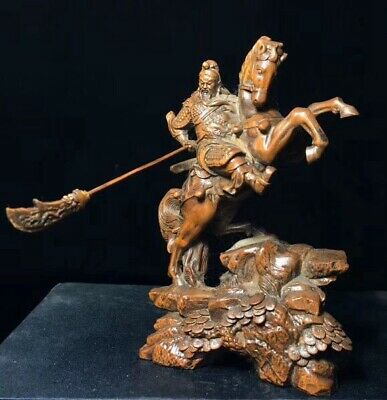 Collectable Handwork Boxwood Carve Hold Sw0rd Warrior Ride War Horse Rare Statue