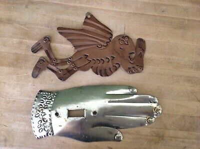 Lot 2 Mexican Tin Folk Art - brass tone flying angel + Silver Light Switch Cover
