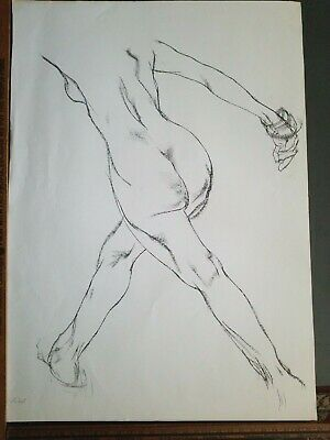 FINE ART ORIGINAL NUDE LARGE CHARCOAL DRAWING by PAUL WAGENER (AMERICAN b. 1918)