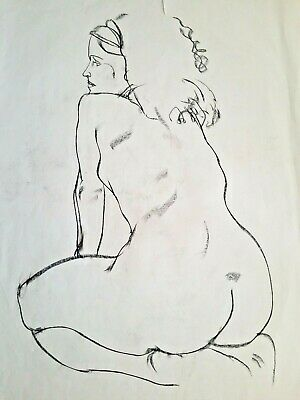 ORIGINAL FINE ART NUDE LARGE CHARCOAL DRAWING by PAUL WAGENER (AMERICAN b. 1918)